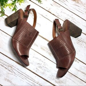 Lucky Brand Brown Slingback Chunky Heel Sandals